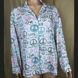 PJ Salvage Love Peace Sleep Top Pajama Print S